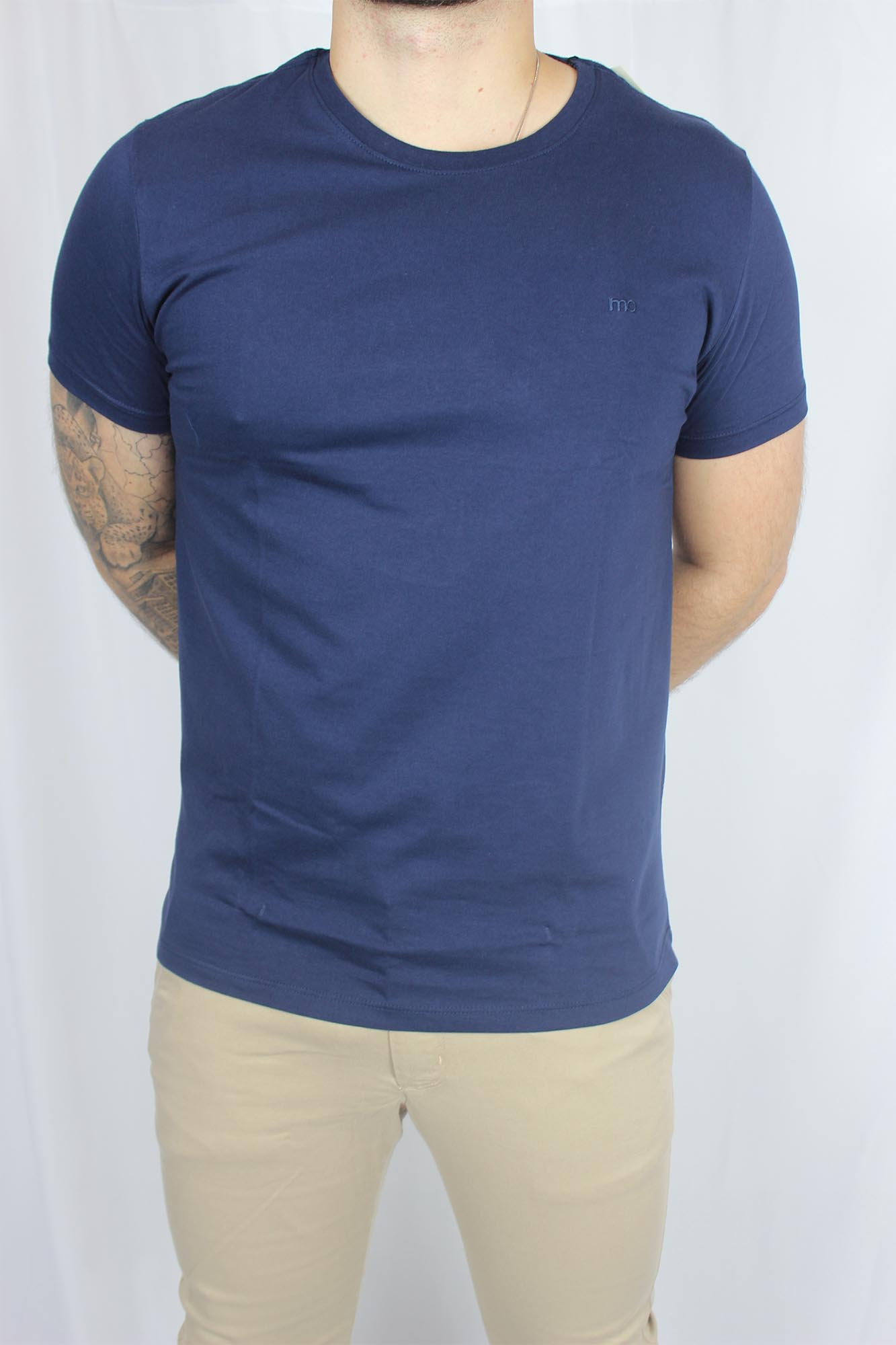 Camiseta Básica Lisa Gola Redonda MO Masculina - Azul Marinha