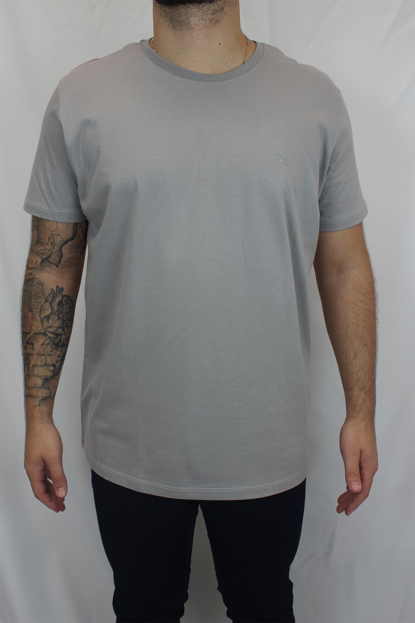 Camiseta Básica Lisa Bordado Masculina - Cinza