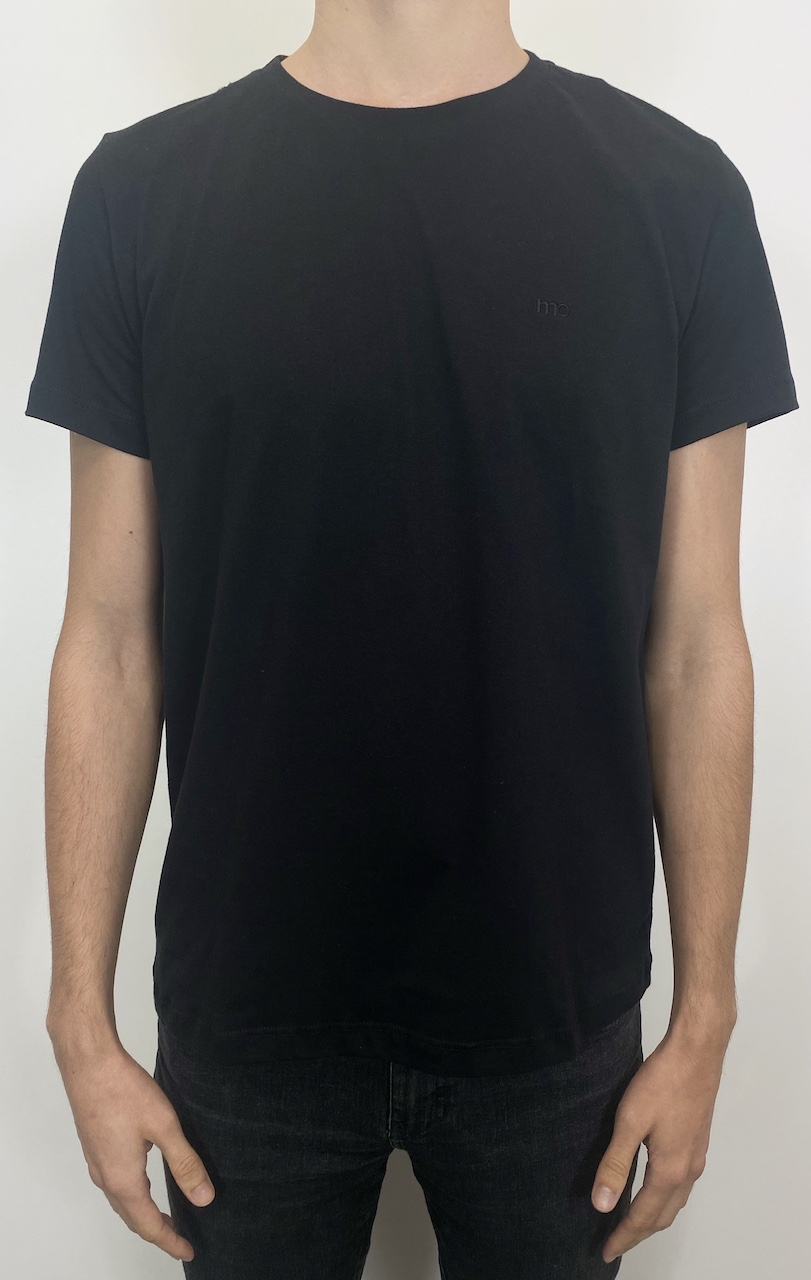 Camiseta Básica Lisa Gola Redonda MO Masculina - Preta