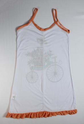 Camisola Feminina Bicicleta e Borboleta Feminina - Branca e Laranja