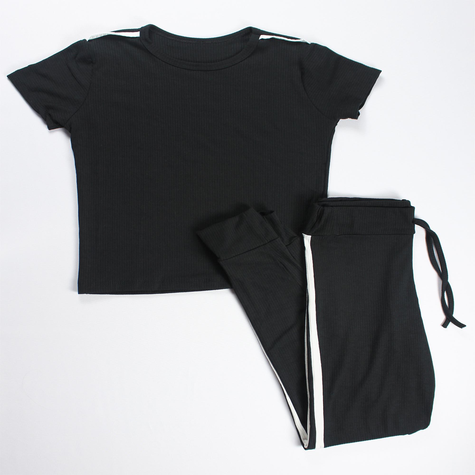 Conjunto Blusa e Calça Detalhe Faixa Feminino - Preto