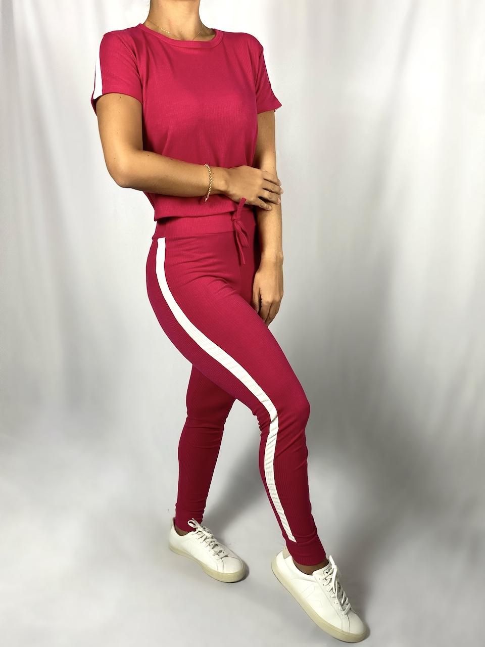 Conjunto Blusa e Calça Detalhe Faixa Feminino - Rosa Pink
