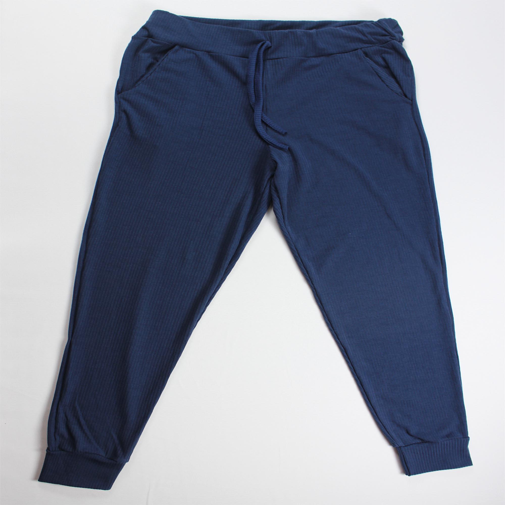 Conjunto Blusa e Calça Duas Faixas Feminino - Azul Marinho
