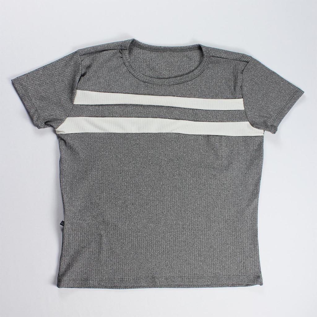 Conjunto Blusa e Calça Duas Faixas Feminino - Cinza Escuro