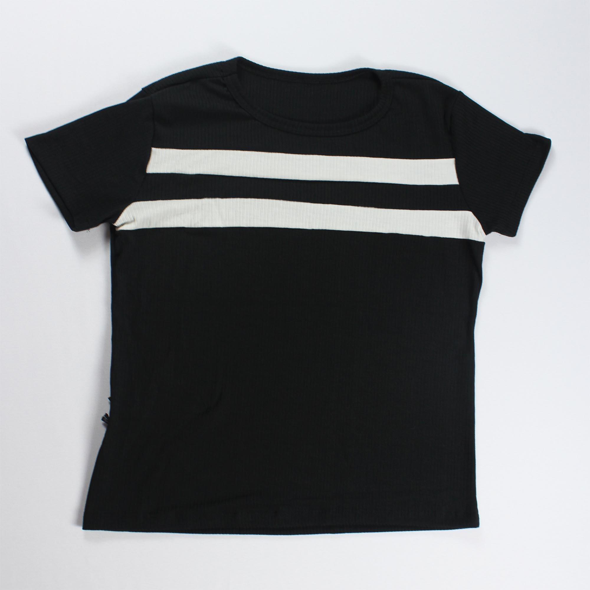 Conjunto Blusa e Calça Duas Faixas Feminino - Preto