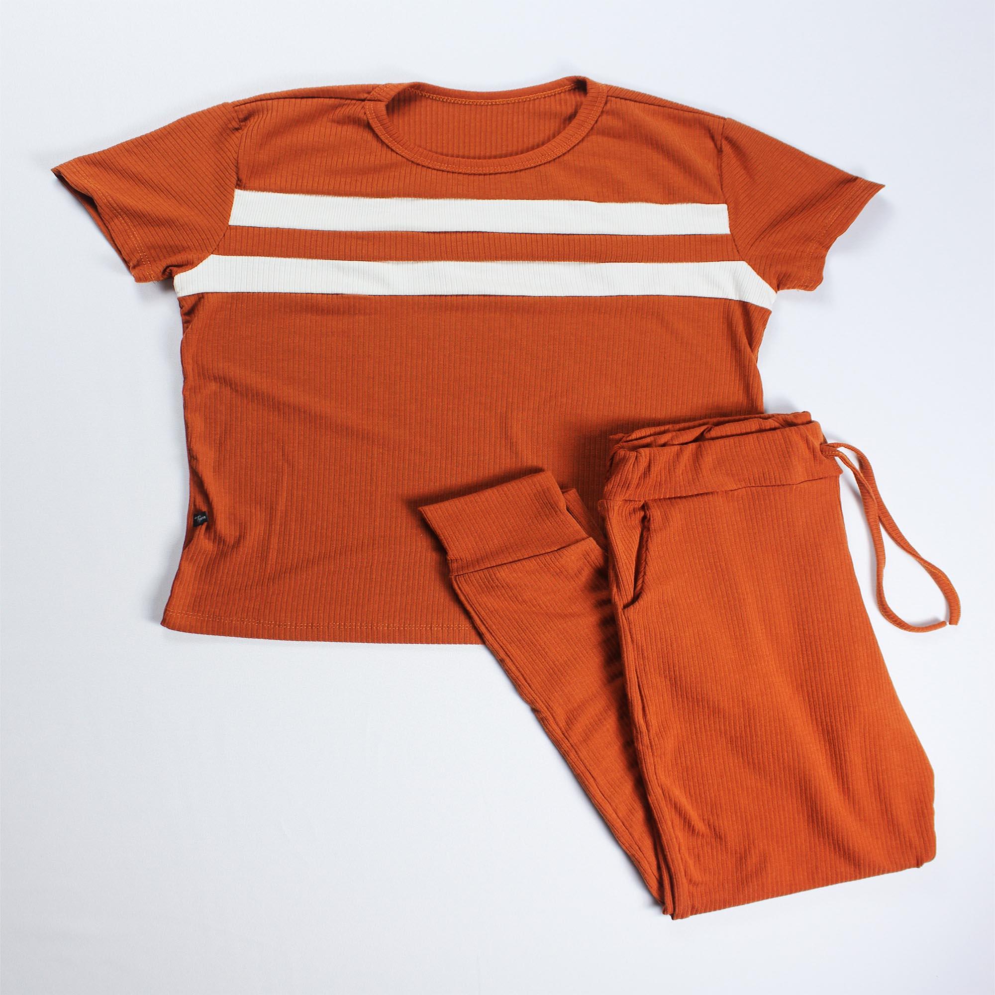Conjunto Blusa e Calça Duas Faixas Feminino - Terracotta