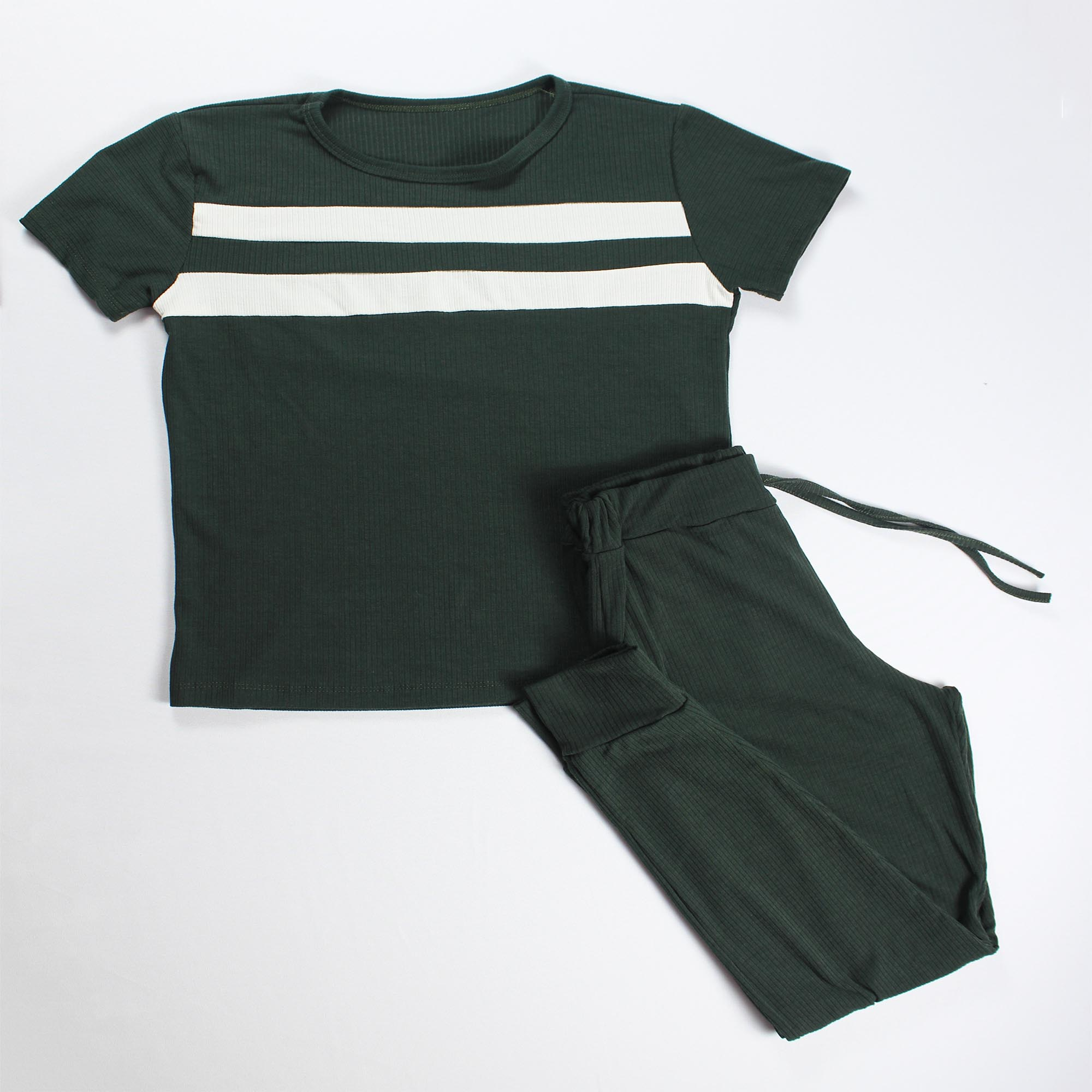 Conjunto Blusa e Calça Duas Faixas - Verde Escuro
