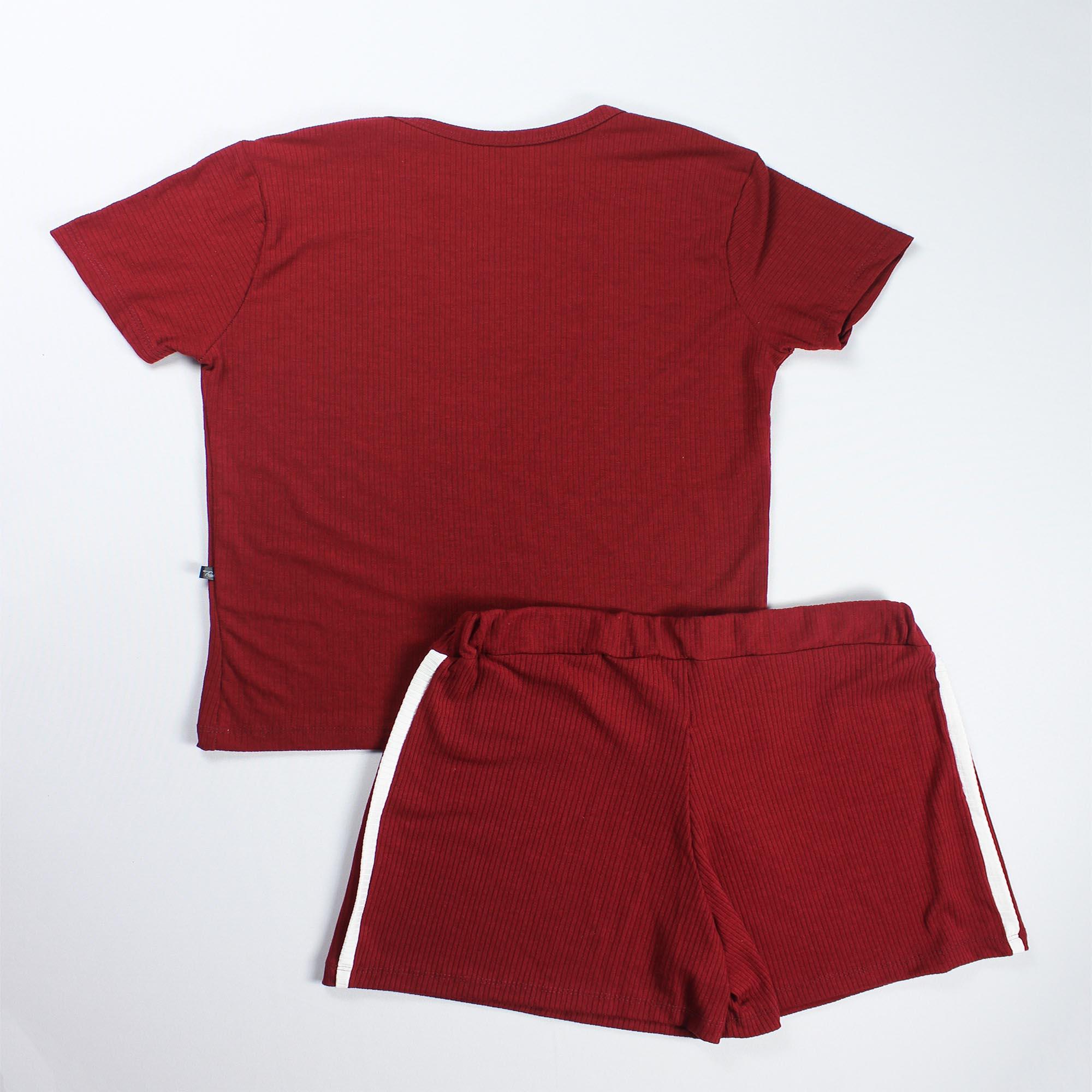 Conjunto Blusa e Short Detalhe Faixa Feminino - Marsala