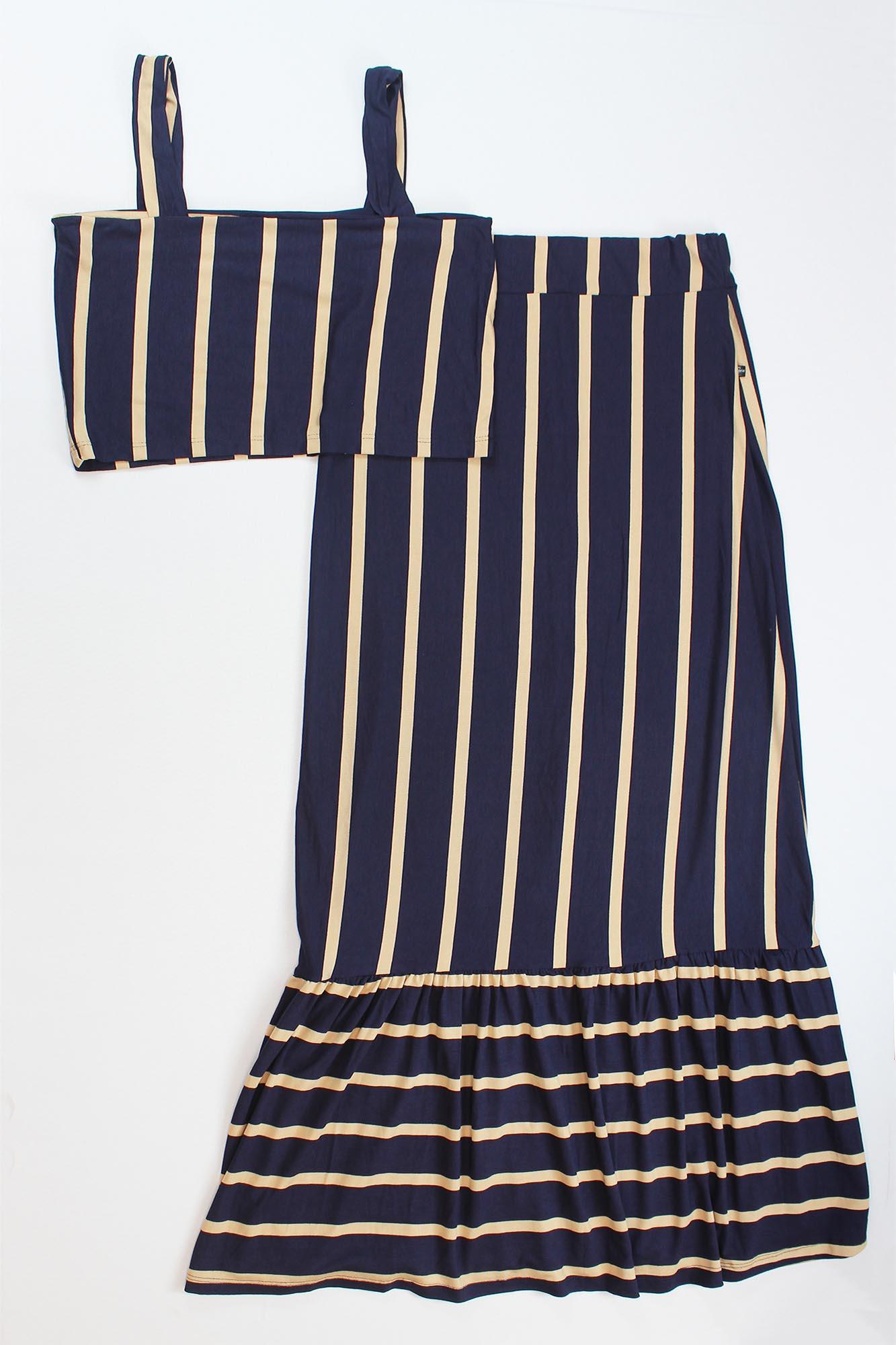 Conjunto Cropped de Alça e Saia com Botão Feminino - Azul Marinho e Dourado