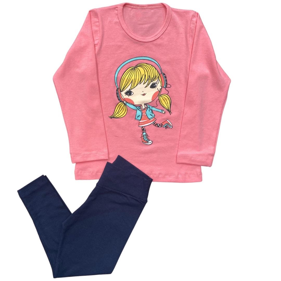 Conjunto Manga Longa Infantil Menina - Tamanho 6
