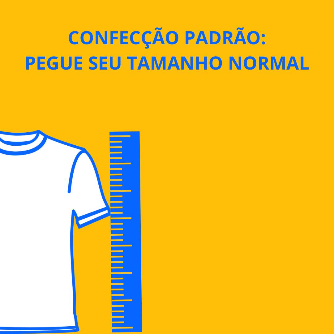 Gola Azul com Ilustração em Preto e Branco e Detalhe em Amarelo Feminina - Tamanho Único