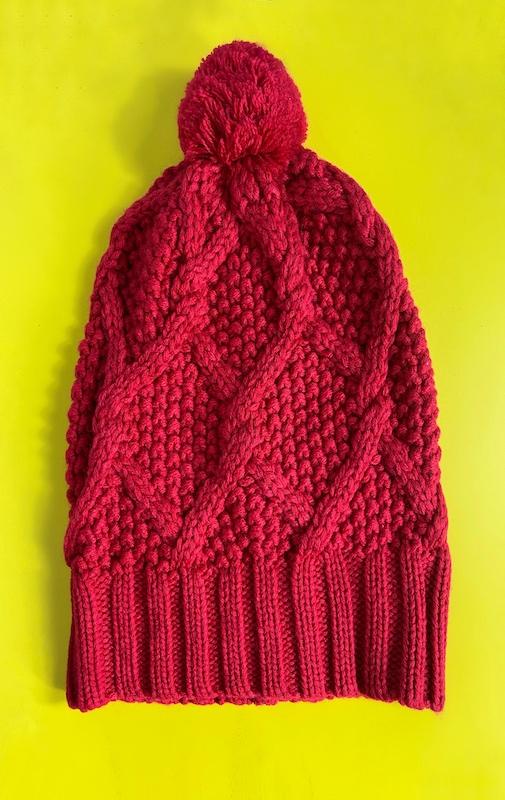 Gorro Vermelho com Pompom Feminino - Tamanho único (Produto Novo)