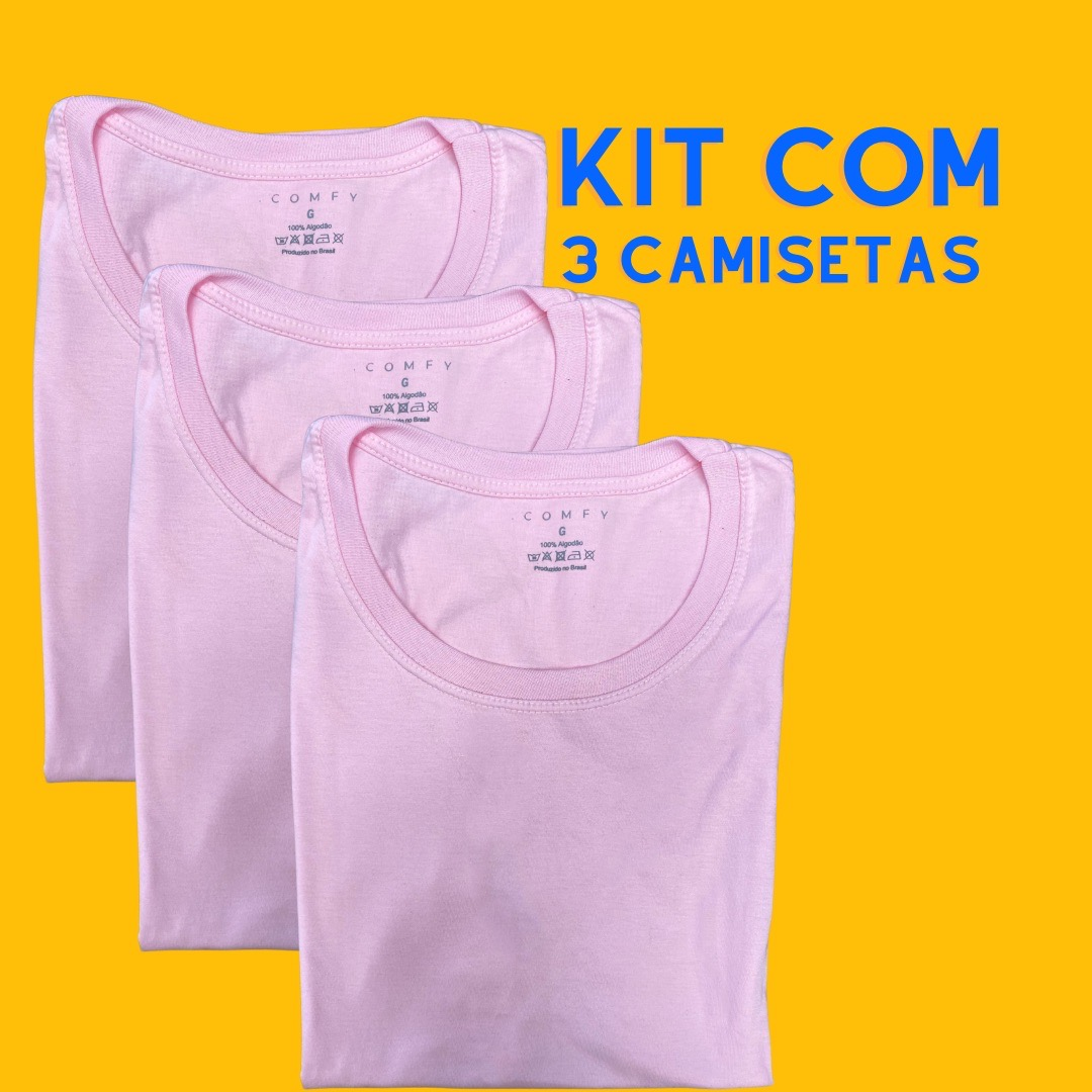 Kit 3 Blusas Baby Look .COMFY LisasFeminina - Tamanho P ao G1