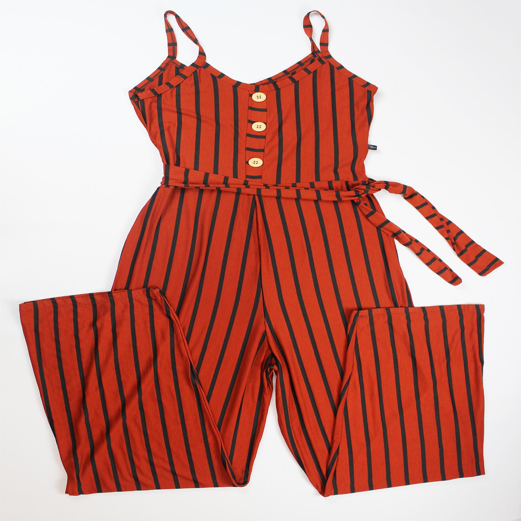 Macacão Botão de Alça Listrado Feminino - Terracotta e Preto