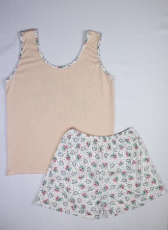 Pijama Regata Feminino Flores e Coração - Salmão