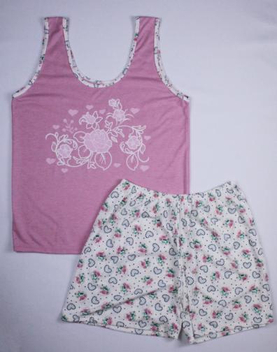 Pijama Regata Feminino Flores e Coração - Rosa