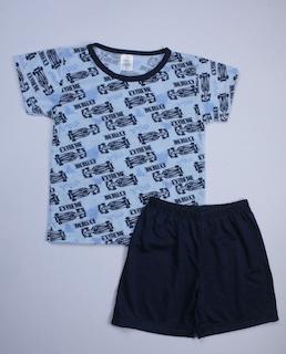 Pijama Infantil Menino Tamanho 2 - Azul e Preto
