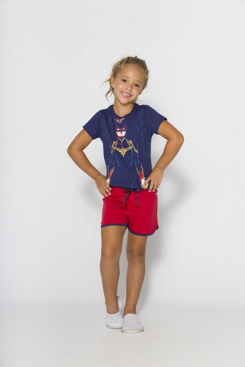 Pijama Infantil Menina Mãe e Filha Capitã Marvel (Produto Oficial) - Tamanho 4 ao 10