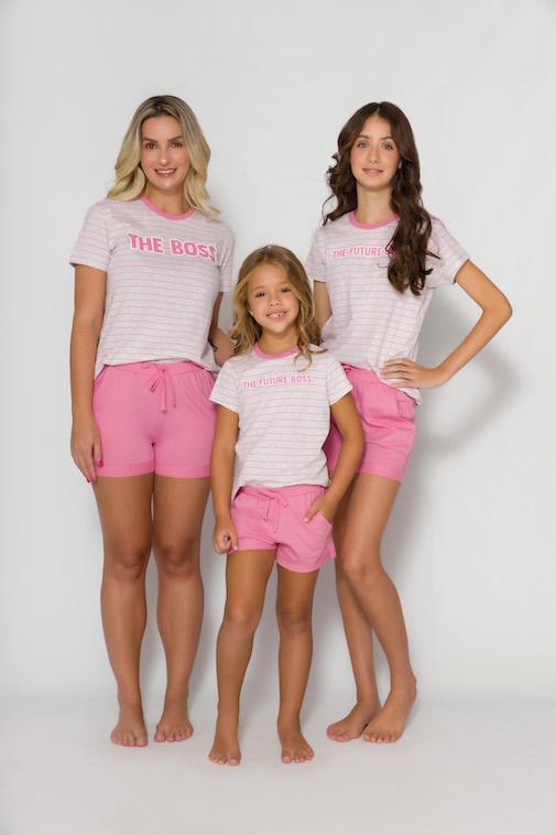 Pijama Infantil Menina  Mãe e Filha The Future Boss - Tamanho 4 ao 10