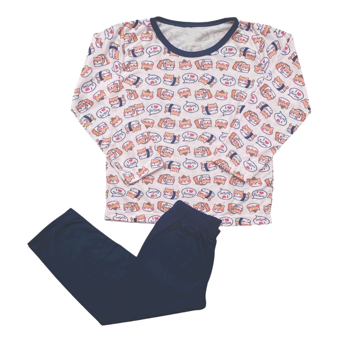 Pijama Manga Longa infantil Menina - Tamanho 3 e 4