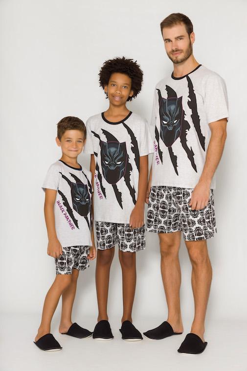 Pijama Masculino Pai e Filho Pantera Negra (Produto Oficial) - Tamanho P ao GG
