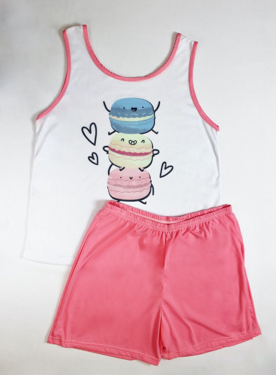 Pijama Regata e Short Plus Size Feminino - Branco e Rosa