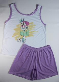 Pijama Regata e Short Plus Size Feminino - Branco e Roxo