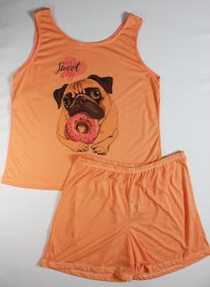 Pijama Regata e Short Plus Size Feminino - Laranja