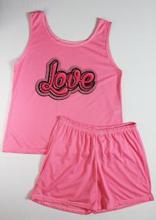 Pijama Regata e Short Plus Size Feminino - Rosa Pink