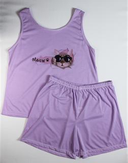 Pijama Regata e Short Plus Size Feminino - Roxo
