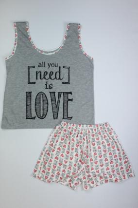 Pijama Regata Feminino All You Need Is Love - Cinza