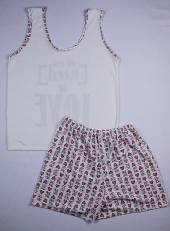 Pijama Regata Feminino All You Need Is Love - Creme