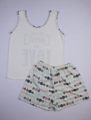 Pijama Regata Feminino All You Need Is Love Flecha - Creme