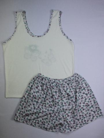 Pijama Regata Feminino Borboleta - Creme