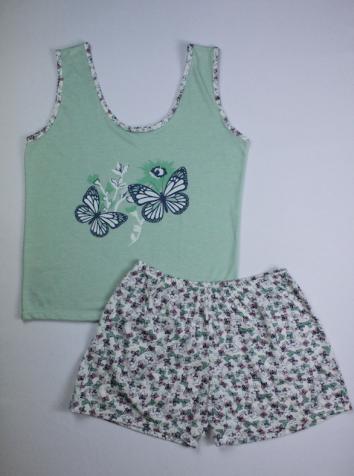 Pijama Regata Feminino Borboleta - Verde
