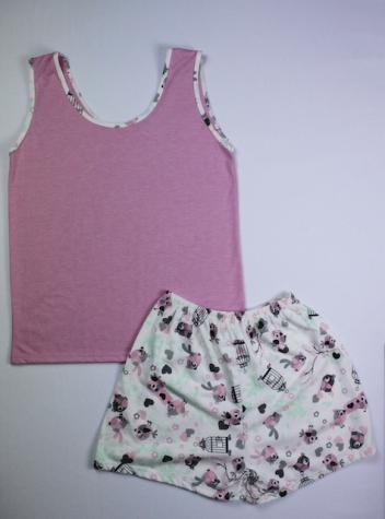 Pijama Regata Feminino Flor e Passarinho - Rosa