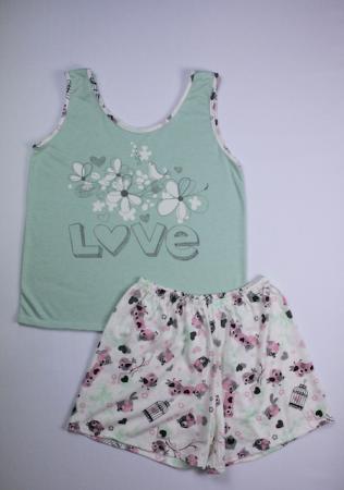 Pijama Regata Feminino Flor e Passarinho - Verde com Creme