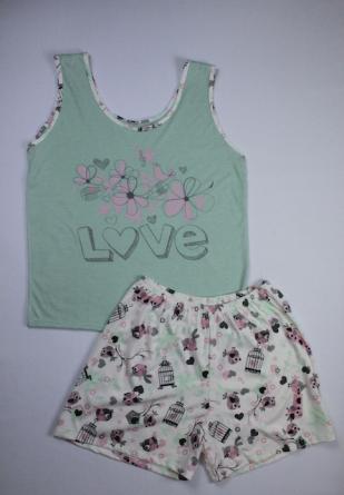 Pijama Regata Feminino Flor e Passarinho - Verde com Rosa