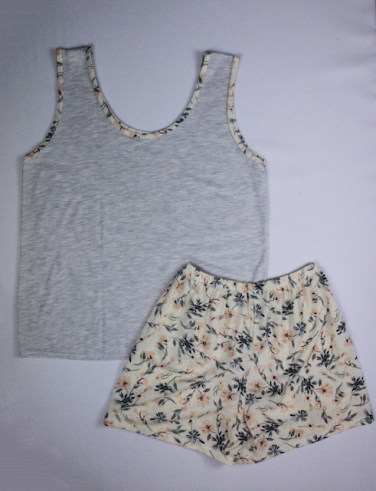 Pijama Regata Feminino Flores - Cinza