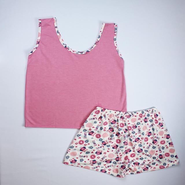 Pijama Regata Feminino Flores - Rosa