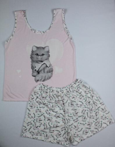 Pijama Regata Feminino Gatinho - Rosa