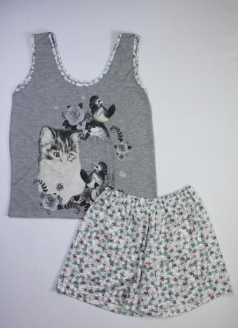 Pijama Regata Feminino Gato e Passarinho - Cinza