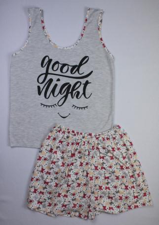Pijama Regata Feminino Good Night com Short Borboleta - Cinza Claro