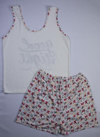 Pijama Regata Feminino Good Night com Short Borboleta - Creme