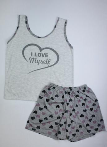 Pijama Regata Feminino I Love Myself - Cinza