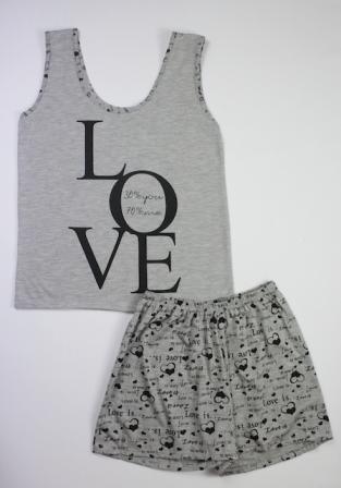 Pijama Regata Feminino Love - Cinza