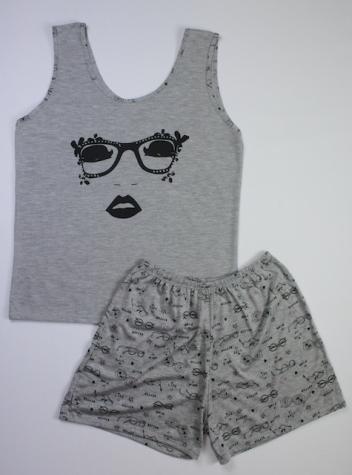 Pijama Regata Feminino Óculos - Cinza Escuro