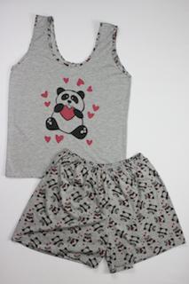 Pijama Regata Feminino Panda - Cinza Escuro