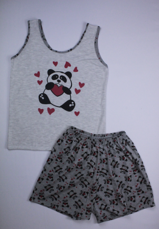 Pijama Regata Feminino Panda - Cinza Claro