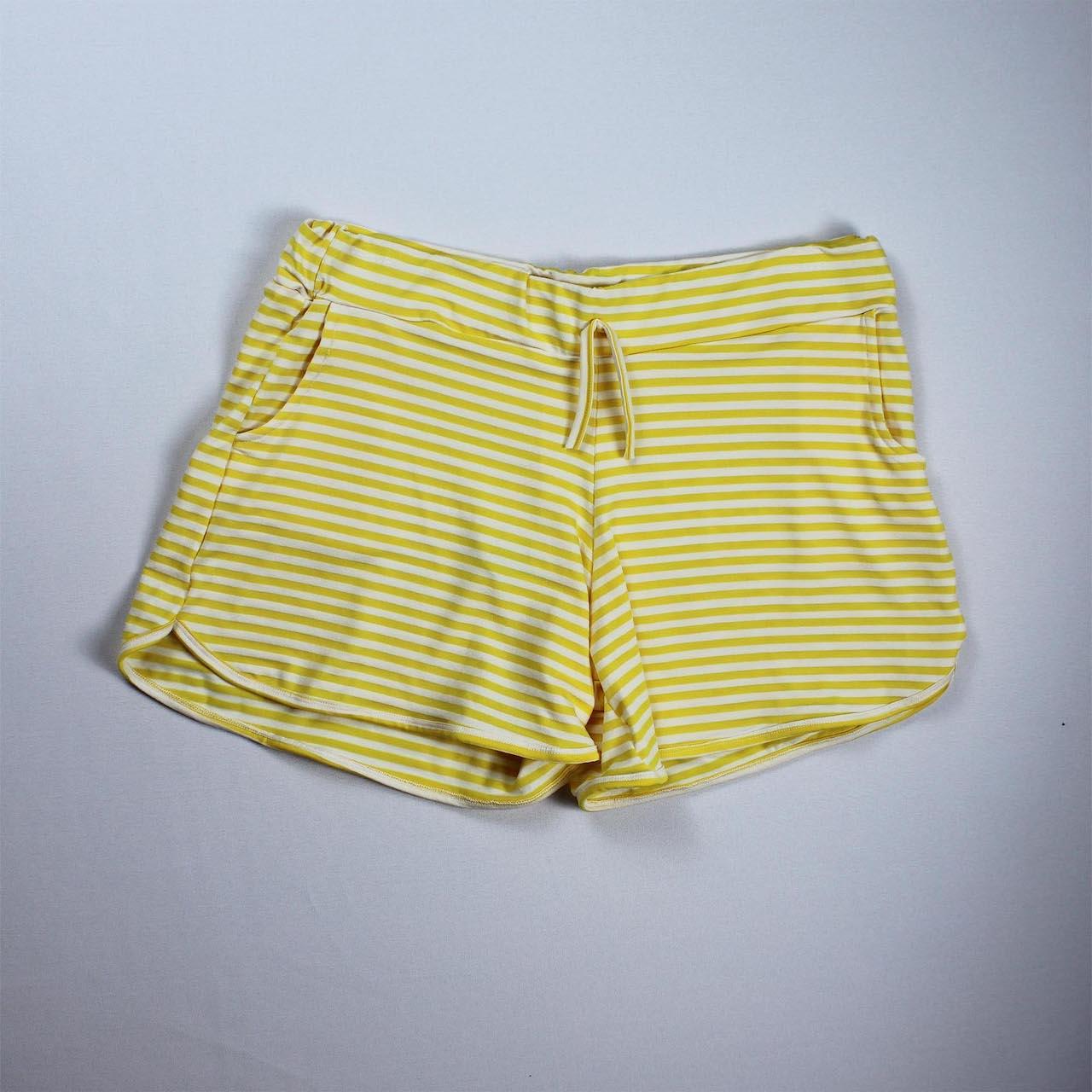 Short Viscolycra Feminino - Listrado Branco e Amarelo